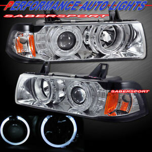Pair Dual Halo Projector Headlights For 92 98 Bmw E36 3 series Sedan And 318ti