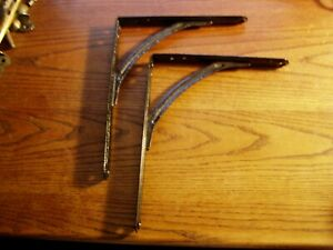 2 Vtg Old Industrial Stamped Steel Pair Shelf Brackets 7 7 8 X 10