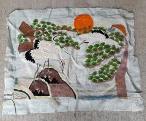 Asian Silk Embroidery Vintage Tapestry Wall Hanging Birds Embroidered
