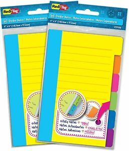 2xredi tag Divider Sticky Notes 60 Ruled Indexing Tag Tabs Assorted Neon Colors