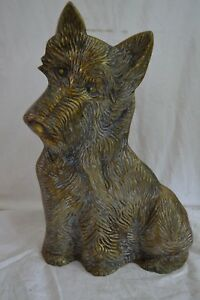 Rare Antique Brass Scottie Terrier Dog Large Metal Door Stop English Figural 16