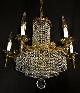 Vtg Deco French Cast Brass 12 Lights Crystals Chandelier Ceiling Fixture 1950 S