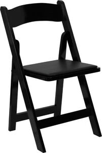 lot Of 10 New Black Stain Wood Folding Chair With Black Vinyl Padded Seat