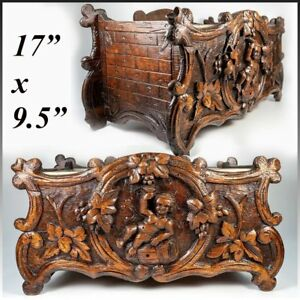 Superb Antique 19c Swiss Black Forest Carved Wood Jardiniere Wine Cooler