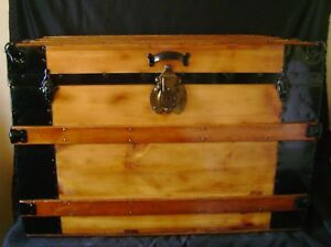 Refinished 1800s Barnard Bros Antique Flat Top Steamer Trunk Coffee Table