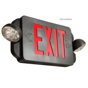 Led Exit Sign Emergency Light Red Lettering Combo Extra Face Plate Blk El2br b 1