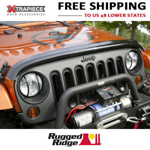 07 18 Jeep Wrangler jk Rugged Ridge Hood Protectors Bug Shields Smoke Color