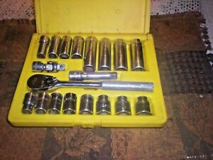 Mac Tools 3 8 Drive Metric General Service Set W Sockets Ratchet Yellow Case