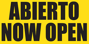 Abierto Now Open Banner Sign Sizes 24 48 72 96 120 Yellow