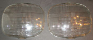 Early Plymouth Headlamp Lens Pair Riteway Glass Mopar Chryco Corcoran Brown