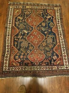 Antique Persian Akstafa Caucasian Trible Hand Knotted Rug
