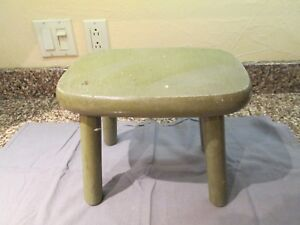 Primitive Milking Stool 12 Long X 9 1 2 High X 8 1 2 Wide Drab Green