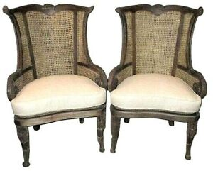 Pair Accent Chairs Cane French Wing Back Arm Chairs Vintage Look Wicker Woven