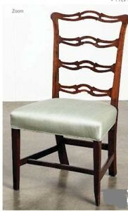 Pair Period 1780s 18th Century New England Ribbon Back Cherry Chippendale Chairs