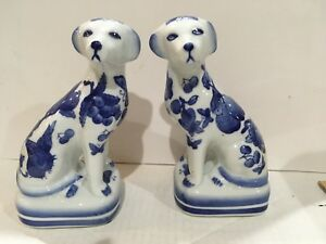 Pair Of Blue And White Porcelain Mantle Dogs
