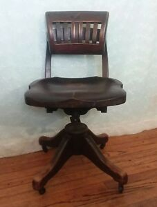 Vintage Wooden Desk Chair Swivel Adjustable Industrial Military Meads Wheeler