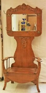 Vintage Quarter Sawn Tiger Oak Hall Tree Seat Bench 1900 S La Area