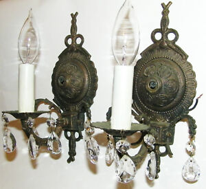 2 French Brass Victorian Crystal Sconces Chandelier Wall Fixture Antique Light