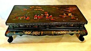 Antique Japanese Wood Lacquered Relief Painted Low Tea Table Nice Art Work