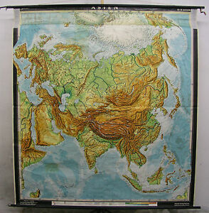 Schulwandkarte Map Asian Asia China India Thailand Wall Map 78x84 5 16in North