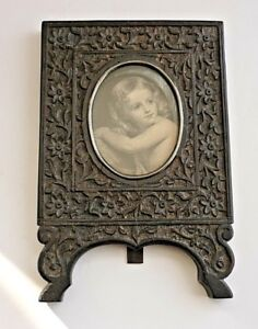Antique Victorian Anglo Indian Carved Ebony Picture Frame