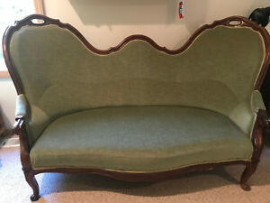 Antique Victorian English Settee Reupholstered Elegant Sturdy Old Couch Charming