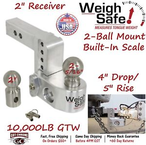 Ws4 2 Weigh Safe 2 Receiver Adjustable Ball Mount Hitch With 4 Drop 5 Rise