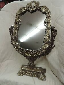 Vintage Cast Metal Free Standing Mirror Swiveling Mirror Ornate Mirror On Stand