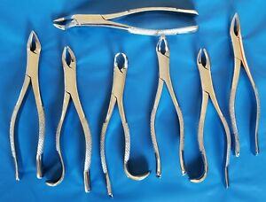 7 New Extracting Forceps Extraction Dental Instruments Stainless Steel