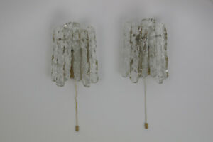 Pair Of 2 Vtg Icicle Wall Sconces J T Kalmar Heavy Ice Glass Mid Century