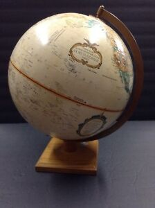 Vintage 12 World Classic Series Globe Replogle As Is Travel Map Wood Stand