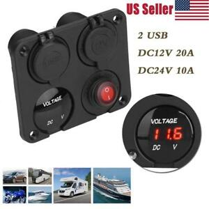 Car Truck Rv Led Voltmeter Dual Usb Charger Switch Power Socket 4 Hole Panel
