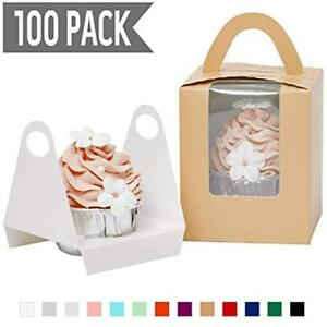 Pop up Cardboard Individual Cupcake Boxes Cameo 100 Sets With Window Insert And