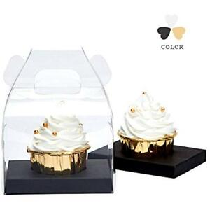 Clear Cupcake Boxes Single With Handle Black Insert 40 Pack Bk40 Kitchen