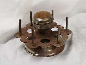 Antique Sewing Thread Holder With Pin Cushion Circa 1910 Free Ship