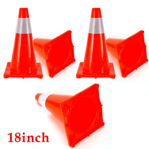 5 Pcs 18 Red Wide Body Road Safety Cones Construction Traffic Sports Pvc Cone