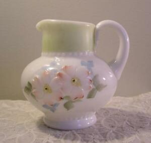 Antique Opaque Glass Pitcher Applied Handle Raised Embossed Flowers