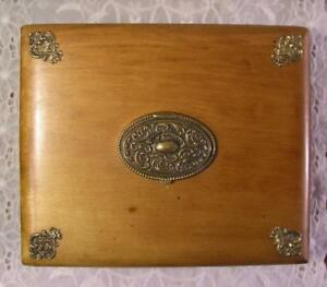 Antique Htf Dovetailed Wood Box Decorative Brass Embellishments Oval Compact Lid