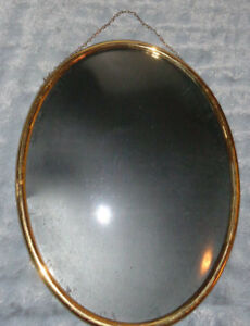 Vtg Hanging 14 X 11 Convex Bubble Glass Metal Frame W Tin Back Holloway Gates