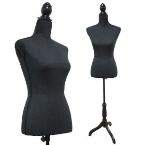 Black Female Mannequin Torso Dress Form Clothing Display W Tripod Stand Base New