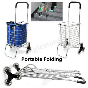 6 Wheels Folding Shopping Cart Large Size Basket For Laundry Grocery Travel Us