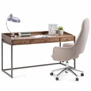 Wyndenhall Brinkley Modern Industrial Solid Acacia Wood Metal Desk