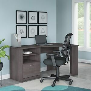 Bush Furniture Cabot Corner Desk And Office Chair In Heather Grey