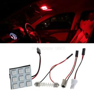 4x Red Universal Fit Led Panel Lights 9 Smd Car Interior Dome Map Trunk Bulb 12v