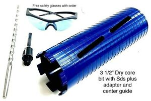 3 1 2 Dry Core Bit Sds Plus Adapter Center Guide Rotary Hammer Drill 3 5