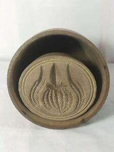 Antique Treenware Vintage Wood Butter Mold Pineapple Pattern Pennsylvania Amish