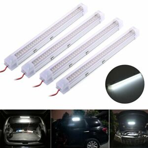 4x 12v 72 Led Car Strip Lights White Bar Lamp Van Caravan On Off Switch