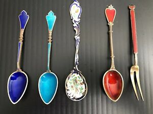 Antique 19thc Marius Hammer Plique A Jour Enamel Silver Spoons And Norway Fork