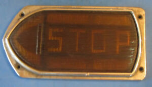Vintage Guide R T5a Amber Left Turn Signal Arrow Glass Lens Truck Bus W Frame