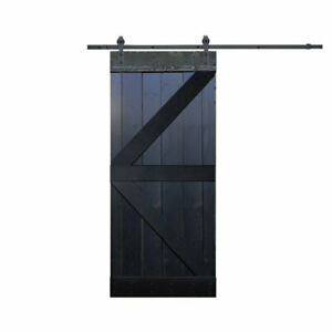 Solid Wood Room Divider Pine Interior Barn Door With Hardware Kit Choco Black